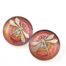 Czech Glass Button - 23mm Embossed Dragonfly - Electric Gold Fuchsia