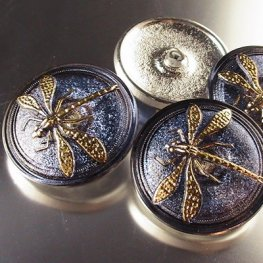 Czech Glass Button - 30mm Embossed Dragonfly - Lavendar Gold