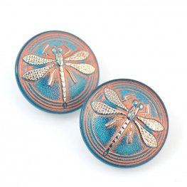 Czech Glass Button - 23mm Embossed Dragonfly - Sunset Dusk