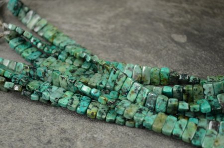 Stone Beads - 10x5mm Double Drilled Rectangle - African Turquoise (strand)