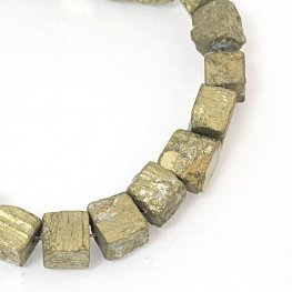 Stone Beads OOAK - 11mm Rough Cubes - Pyrite (strand)