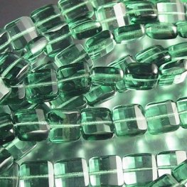 Firepolish - 9mm Faceted Flat Square - Dark Sage Green
