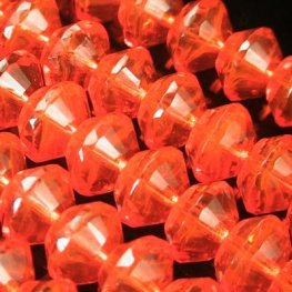 Firepolish - 11mm Faceted Bicone Rondelle Rivoli - Orange Crush
