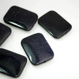 Stone Beads - 30x40mm Rectangle - Blue Goldstone