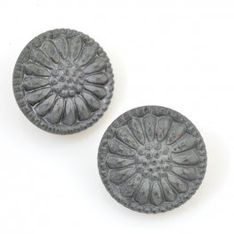 Czech Glass Button - 18mm Sunflower - Ancient Rome