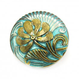 Czech Glass Button - 18mm Rug Beater Flower - Old Gold Aqua