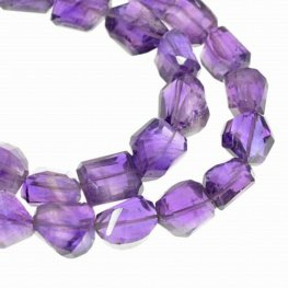 Stone Beads - 8x11mm Faceted Freeform - Dark Amethyst (strand)