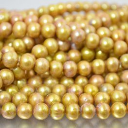 Freshwater Pearls - 8mm Near Round Pearl - Multi Gold (strand)