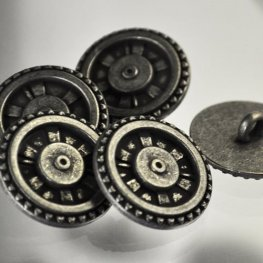 Button - .75in Steampunk Cog and Spoke - Antique Steel