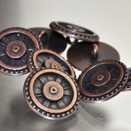 Button - .75in Steampunk Cog and Spoke - Antique Copper