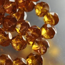 Firepolish Beads Central Cut 9mm - Topaz (Strand 15)