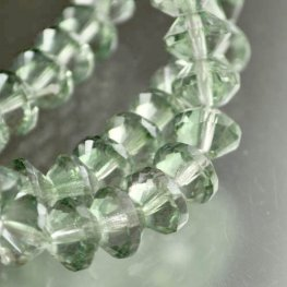 Firepolish - 11mm Faceted Bicone Rondelle Rivoli - Crystal Green Lustre