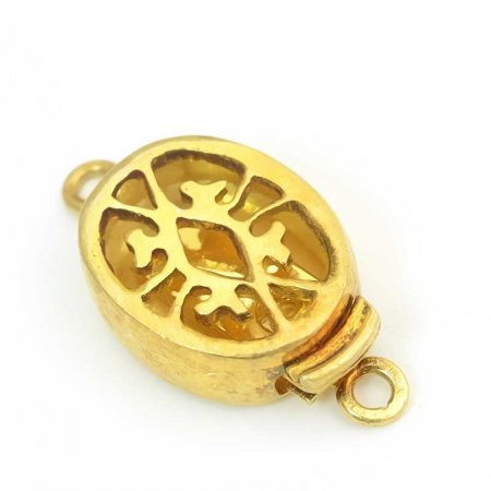 Box Clasp Oval Filigree 18mm - Gold Plated