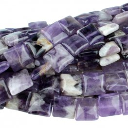 Stone Beads - 12mm Square - Dog Tooth Amethyst (strand)