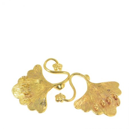 Hook and Eye Clasp - 4-Strand Linked Gingkos - Bright Brass