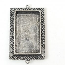 Resin Bezel Tray - Large Milan Rectangle - Antiqued Silver