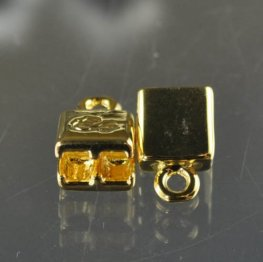 Silver Silk - Knitted Wire - Double End Cap - Goldplated