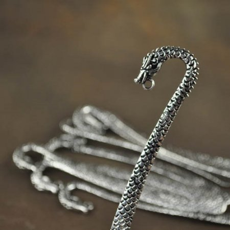 Bookmark with Loop - Scaly Dragon - Antiqued Silver