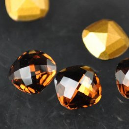 Swarovski Rhinestones - 8mm Classical Square Checkerboard Cut (4461) - Smoked Topaz