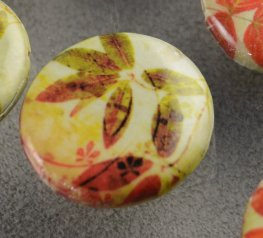 Decoupage Picture Beads - 25mm Coin - Autumn Stroll (strand)