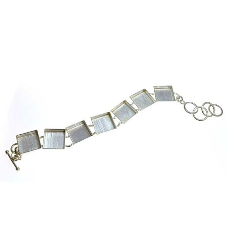 Bezel Bracelet Blank - Square Links - Silver plated