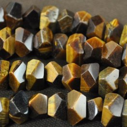 Stone Beads - 12x7mm Faceted Nugget - Tigereye (strand)