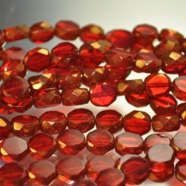 Firepolish - 8mm Faceted Windows - Bronzed Ruby (strand 25)