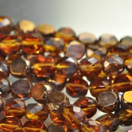 Firepolish - 8mm Faceted Windows - Topaz Gold (strand 25)