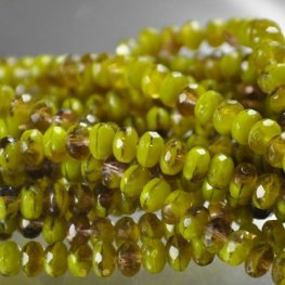 Firepolish - 5x3mm Faceted Donut Rondelles - Mystery Moss (Strand 50)