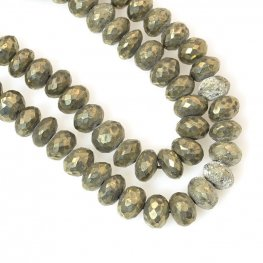 Stone Beads - 8mm Faceted Rondelles - Pyrite (strand)