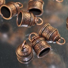 End Cap Rotating Swivel Ridged ID 9.5mm - Antique Copper