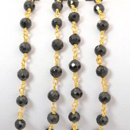 Gemstone Chain - 4mm Faceted Bead on Wire Link - Onyx Black / Gold Plated (foot)