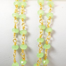 Gemstone Chain - 4mm Faceted Rondelle on Wire Link - New Burma Jade / Gold Plated (foot)