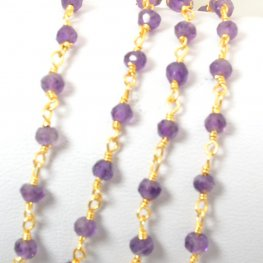 Gemstone Chain - 3mm Faceted Rondelle on Wire Link - Amethyst / Gold Plated (foot)