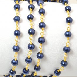 Gemstone Chain - 4mm Round on Wire Link - Dark Blue Glass Pearl / Gold Plated (foot)