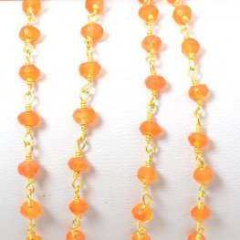 Gemstone Chain - 4mm Faceted Bead on Wire Link - Light Carnelian / Gold Plated (foot)