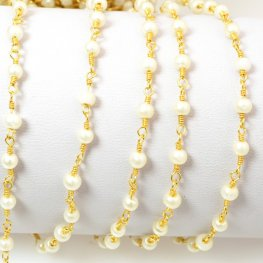 Gemstone Chain - 4mm Round on Wire Link - White Glass Pearl / Gold Plated (foot)
