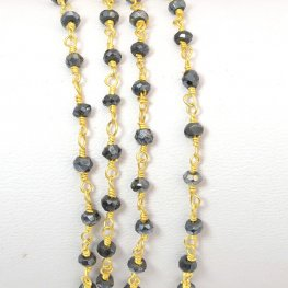 Gemstone Chain - 3mm Faceted Rondelle on Wire Link - Silver Coated Black Onyx / Gold Plated (foot)