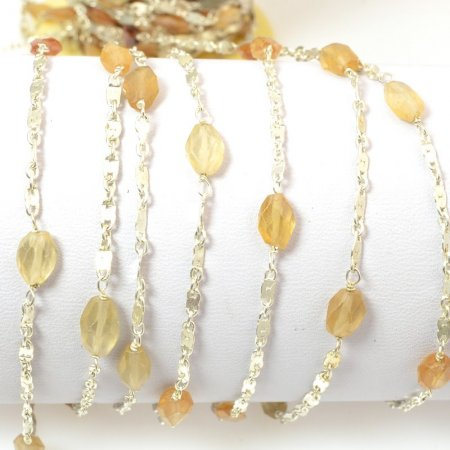 Gemstone Chain - 5x7mm Faceted Freeform on Wire Link with Chain - Mixed Carnelian / Silver (foot)