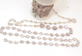Gemstone Chain - Faceted Stone - Light Lavender Amethyst / Gold Plated (foot)