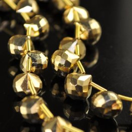 Stone Beads - Faceted Briolette - Gold Plated Hematite