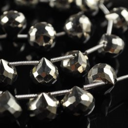 Stone Beads - Faceted Briolette - Silver Plated Hematite