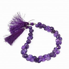 Stone Beads - Limited Edition - Faceted Fat Briolettes - Dark Amethyst (strand)