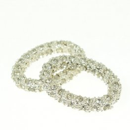 Rhinestone Pave - 12mm Oval - Crystal / Silver