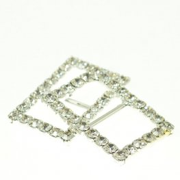 Rhinestone Pave - 20x27mm Buckle Frame - Rectangle - Crystal / Silver