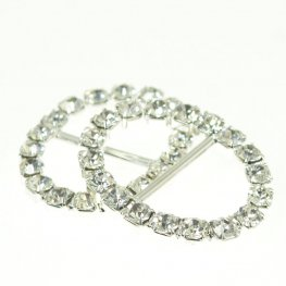 Rhinestone Pave - 20x26mm Buckle Frame - Oval - Crystal / Silver