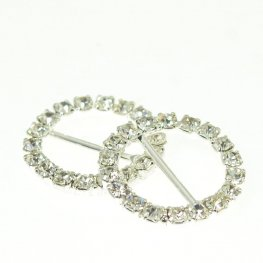 Rhinestone Pave - 20mm Buckle Frame - Round - Crystal / Silver