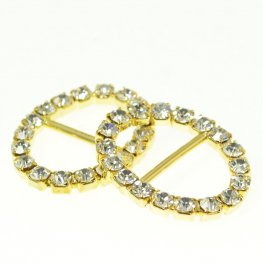Rhinestone Pave - 20x26mm Buckle Frame - Oval - Crystal / Gold Plated