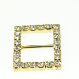 Rhinestone Pave - 20x27mm Buckle Frame - Rectangle - Crystal / Gold Plated