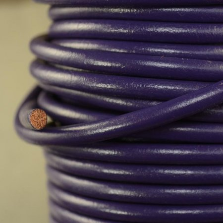 Stringing - 5mm Round Leather Cord - Royal Purple (Inch)